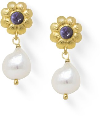Vintouch Italy Mini Flower Gold-Plated Iolite Earrings