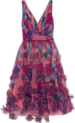 Marchesa Appliqued Pleated Floral-print Organza Dress