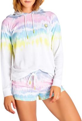 PJ Salvage Smiley Tie Dyed Hooded Sweatshirt