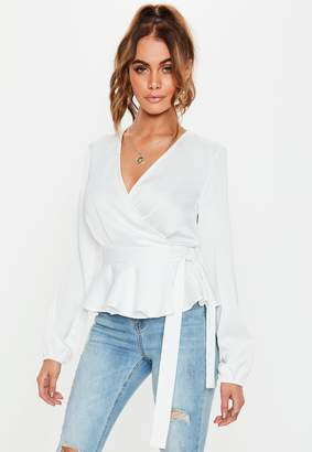 Missguided Ivory Frill Hem Side Tie Blouse