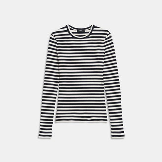 Theory Tiny Long-Sleeve Tee in Striped Ribbed Knit