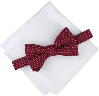 Alfani Men Dot Pre-Tied Bow Tie & Solid Pocket Square Set