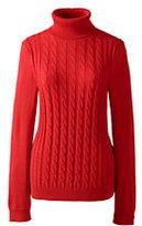 Classic Women's Tall Cotton Cable Turtleneck Sweater-Aqua Green Heather