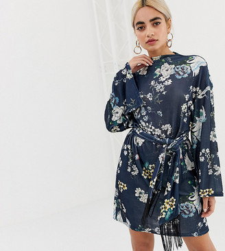 Asos Kimono Sleeve Bird Print Mini Dress with Self Fringe Belt-Multi