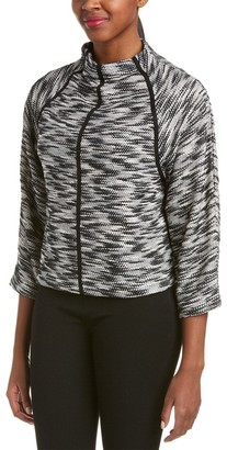 Joan Vass Women's Tweed Top with Trim