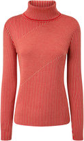 Carven Camel Striped Wool Turtleneck Jumper