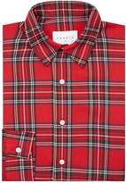 Sandro Tartan Print Collar Shirt, Red, S