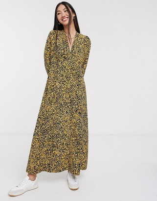 Selected maxi dress in yellow ditsy floral