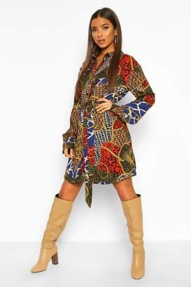 boohoo Chain Print Belted Shirt Dress