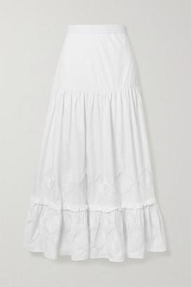 CHUFY Miski Crochet-trimmed Tiered Cotton Maxi Skirt - White