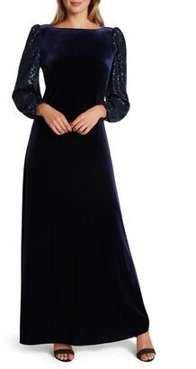 Tahari Sequin Long Sleeve Velvet Gown