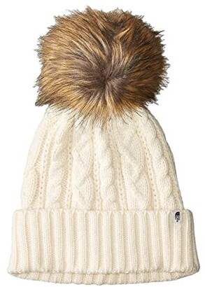 The North Face Oh-Mega Fur Pom Beanie (Vintage White) Beanies