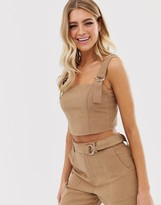 Miss Selfridge cami crop top with buckle straps in camel