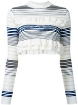 Stella McCartney cropped striped frill jumper - women - Virgin Wool - 38