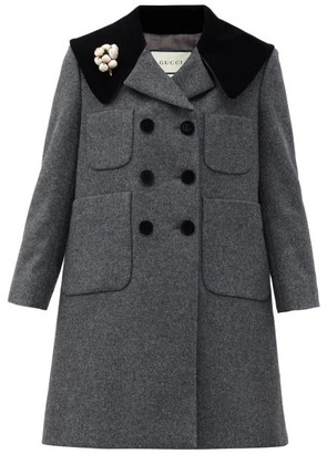 Gucci Floral-pin Double-breasted Wool Coat - Dark Grey