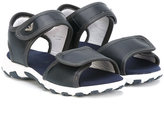 Armani Junior touch strap sandals - kids - Leather/Polyester/rubber - 35