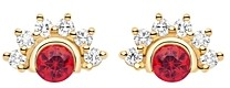 Nouvel Heritage 18K Yellow Gold Mystic Diamond & Red Spinel Stud Earrings