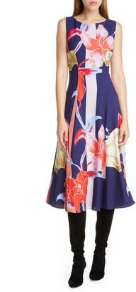 Etro Large Lily Print Crepe Midi Dress
