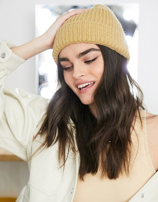 ASOS DESIGN chunky beanie with deep turn up in camel
