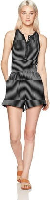 RVCA Women's Grow Up Striped Romper Black X-Small