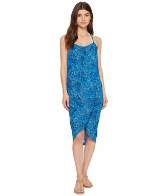 Green Dragon Women's Batik I Bleu Genevieve Wrap Dress