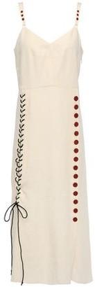 By Malene Birger Lace-up Button-detailed Slub Woven Midi Dress