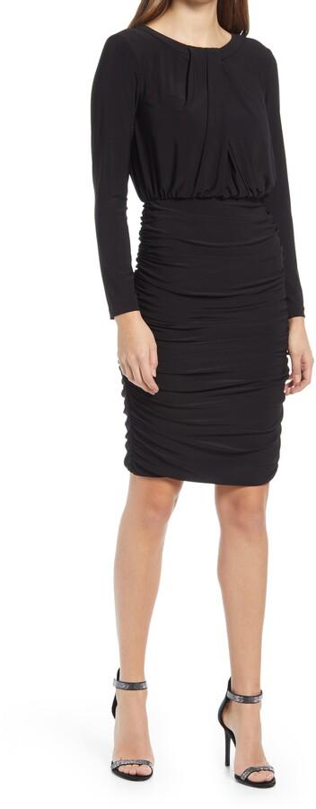 Eliza J Ruched Long Sleeve Stretch Jersey Dress