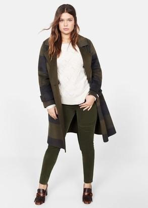 MANGO Violeta BY Slim-fit cotton pants medium green - 12 - Plus sizes