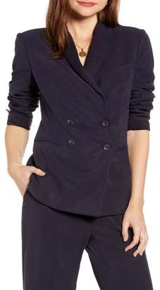 Nordstrom Something Navy Drapey Double Breasted Blazer Exclusive)