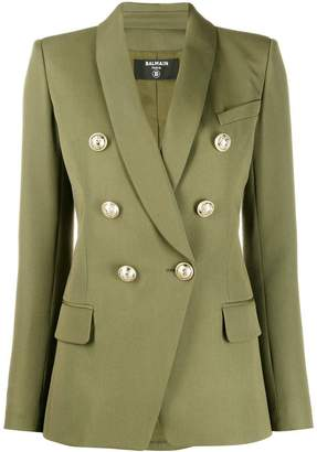 Balmain khaki green structured blazer