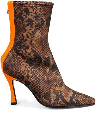 Brother Vellies Manba Snakeskin-Print Stiletto Booties