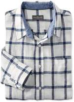 L.L. Bean L.L.Bean Signature Summer Indigo Linen Shirt, Long-Sleeve Plaid