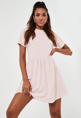 Missguided Pink Basic Jersey Smock Dress