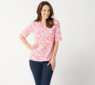 Denim & Co. Printed Jersey V-Neck Elbow-Sleeve Top