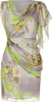 Matthew Williamson Grey/Apple Draped Silk Dress