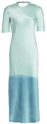 Dip-Dye Silk Midi Dress