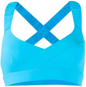 NO KA 'OI crisscross back V-neck sports bra