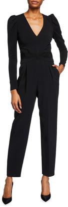 RED Valentino V-Neck Long-Sleeve Crepe Jumpsuit