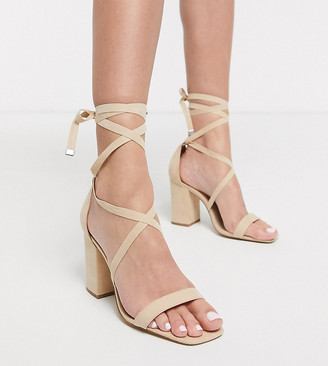 London Rebel wide fit tie leg barely there heeled sandal in beige