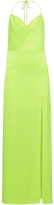Alice + Olivia Eliza Neon Satin-crepe Halterneck Maxi Dress