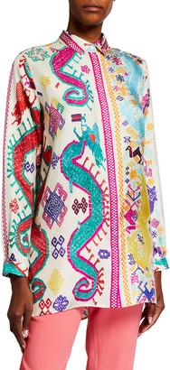 Etro Bright Dragon-Print Silk Tunic Shirt
