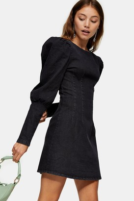 Topshop Womens Washed Black Denim Seam Shirt Dress - Washed Black