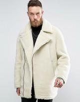 Asos Faux Shearling Biker Jacket In Ecru