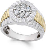 Macy's Men's Diamond Two-Tone Cluster Ring (3/4 ct. t.w.) in 10k Gold and White Gold