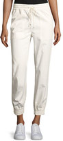 Theory Cortland Relaxed Cotton Jogger Pants, Ivory