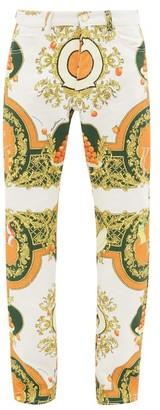 Casablanca Orange Baroque-print Denim Jeans - Orange