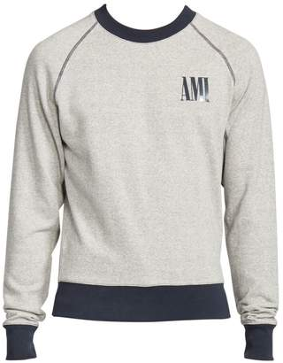 Ami Paris Print Bi-Color Cotton Sweatshirt
