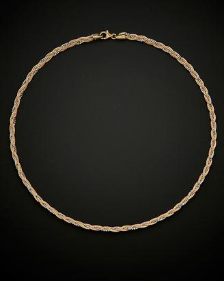 Italian Gold 14K Tri-Tone Braided Sparkle Mirror Omega Necklace