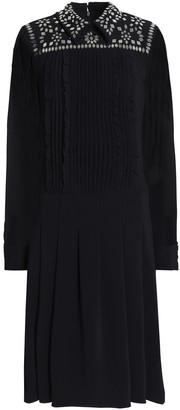 Mikael Aghal Georgette-paneled Embellished Crepe Shirt Dress