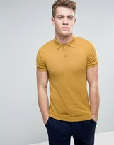 Asos Knitted Muscle Fit Polo Shirt In Yellow